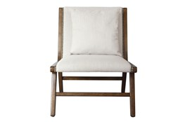 Linen + Wood Lounge Chair