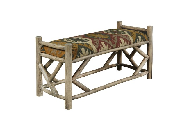 Reclaimed Wood Southwestern Bench  - 360