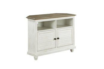 White Shutter Door Corner Tv Stand