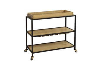 Oak + Iron Bar Cart
