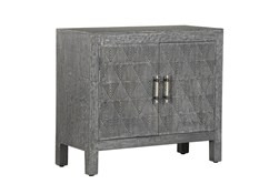 Grey 2 Door Carved Accent Chest
