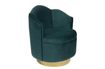 Emerald Scallop Swivel Chair
