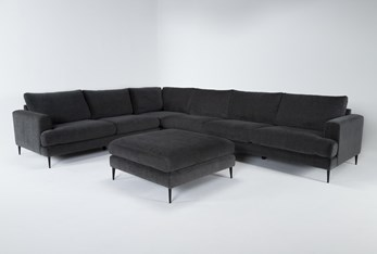 """Giada Encore 4 Piece 147"""" Sectional With Cocktail Ottoman"""