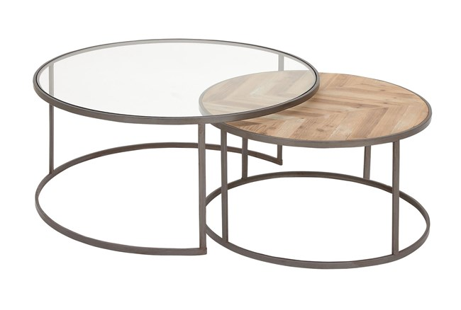 2 Piece Glass And Wood Nesting Coffee Table - 360