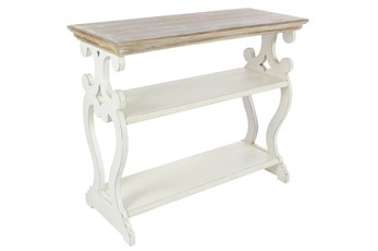 "2 Tone 38"" Console Table With Shelves"