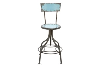 30 Inch Blue Vintage Bar Stool