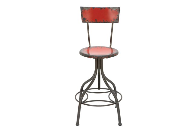 30 Inch Red Vintage Bar Stool - 360