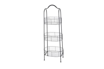 Black Farmhouse Basket Bakers Rack