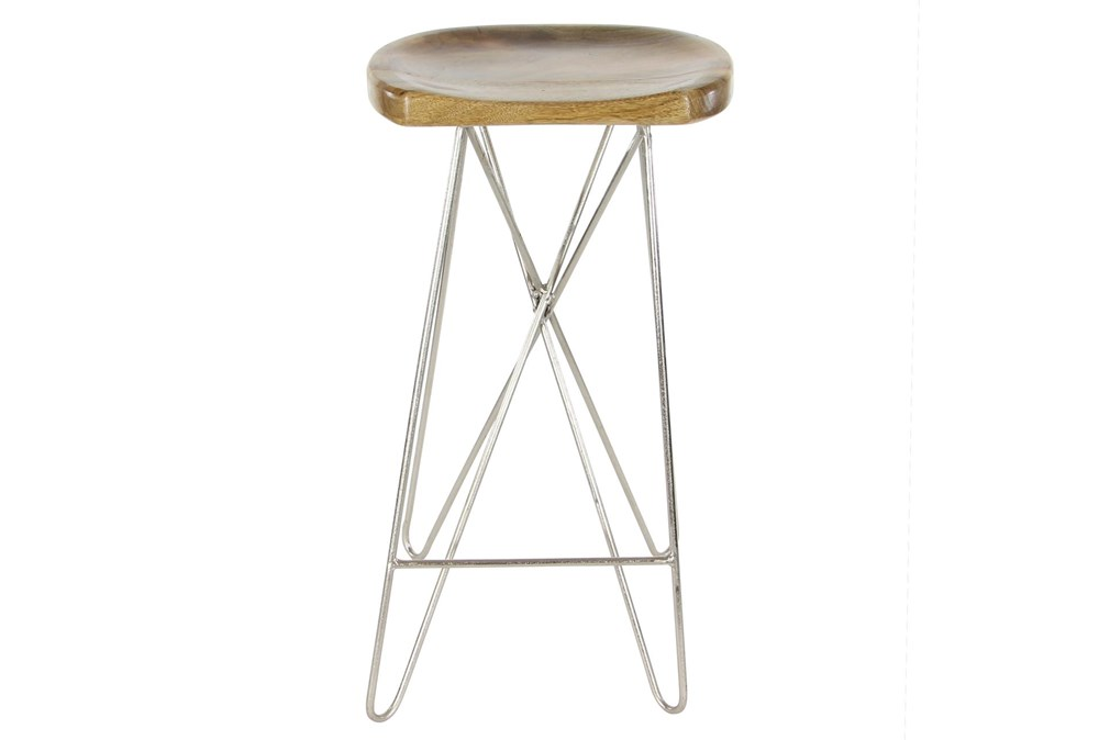 "30"" Metal And Wood Bar Stool"