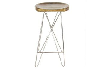 30 Inch Metal And Wood Bar Stool