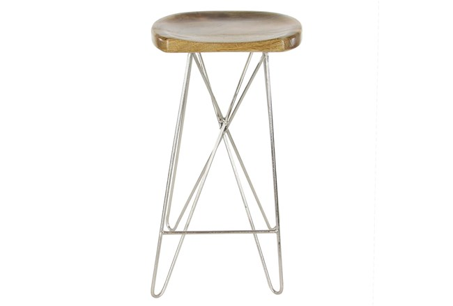 "30"" Metal And Wood Bar Stool - 360"