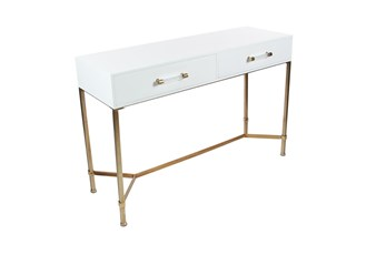 "Contemporary White And Bronze 47"" Console Table"