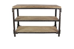 Wood And Metal Industrial Console Table