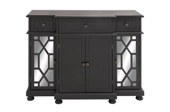 Black 4 Door Mirrored Cabinet