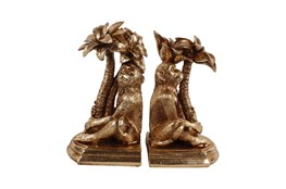 Gold Monkey With Palm Tree Bookends