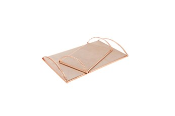 Rose Gold Tray With Handles Set Of 2