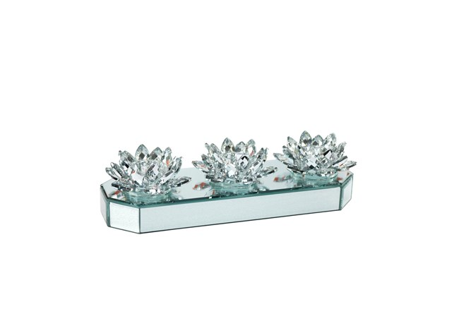 Mirrored Lotus Candle Holder - 360