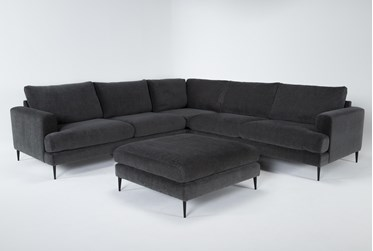 """Giada Encore 3 Piece 114"""" Sectional With Cocktail Ottoman"""