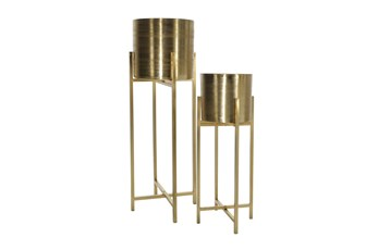 Gold Metal Planter On Stand Set Of 2