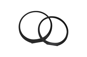 Black Metal Circle Sculpture- Set Of 2