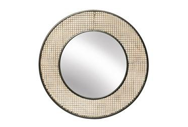 28 Inch Wood Wicker Wall Mirror