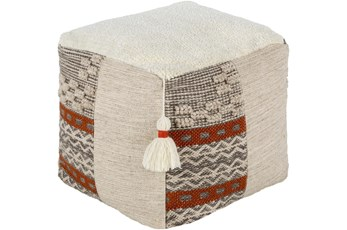 Pouf-Neutral And Orange With Tassels