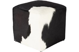 Pouf-Black Cream Hair On Hide