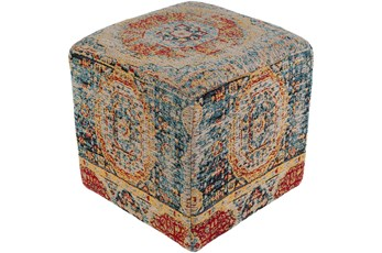Pouf-Blue Orange Traditional