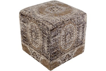 Pouf-Grey Woven Traditional