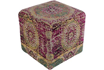 Pouf-Pink Woven Traditional