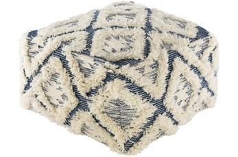 Pouf-Blue Cream High/Low