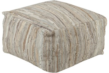 Pouf-Grey Natural Woven Leather