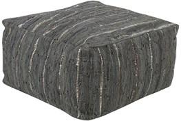 Pouf-Black White Woven Leather