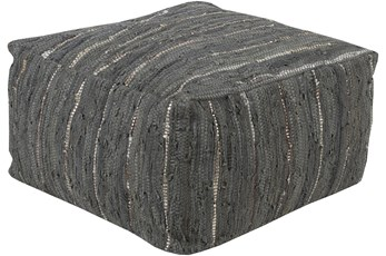 Pouf-Black White Woven Leather