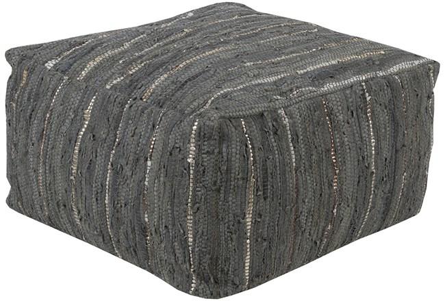 Pouf-Black White Woven Leather - 360