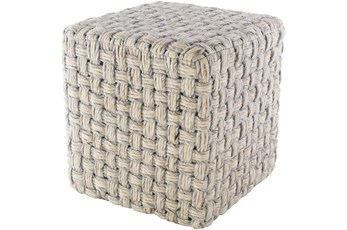 Pouf-Grey Cream Basket Weave