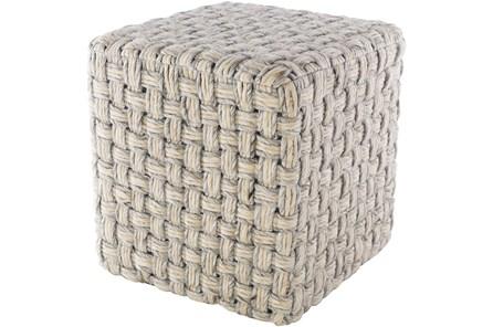 Pouf-Grey Cream Basket Weave - Main