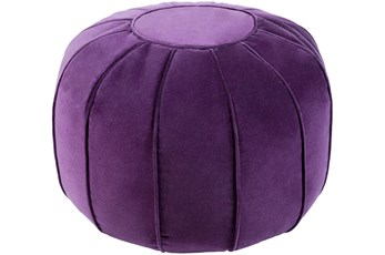Pouf-Purple Velvet Round
