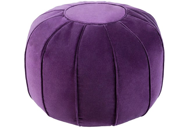 Pouf-Purple Velvet Round - 360