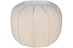 Pouf-Khaki Velvet Round