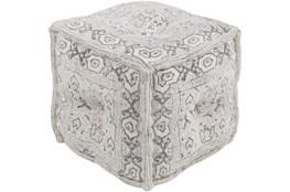 Pouf-Charcoal Block Printed