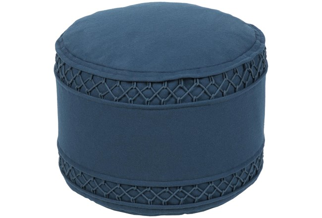Pouf-Blue Felted Textured - 360