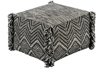 Pouf-Black Cream Fringe