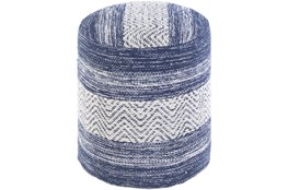 Pouf-Blue Denim White Stripe