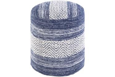 Pouf-Blue Denim White Stripe