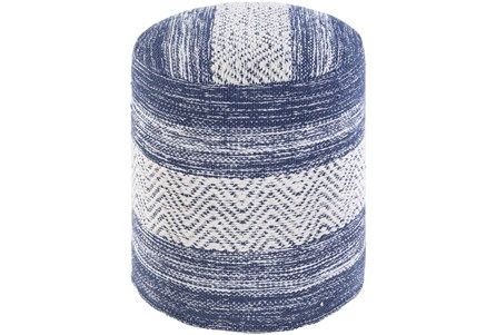 Pouf-Blue Denim White Stripe - Main