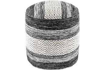 Pouf-Black White Stripe