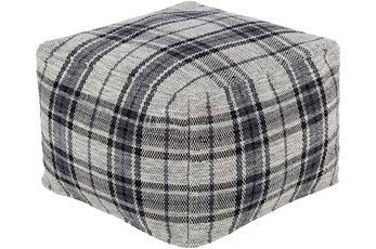 Pouf-Charcoal Beige Plaid