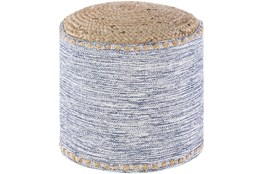 Pouf-White Blue Jute Blend Braided