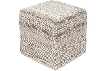 Pouf-Taupe Ivory Textured
